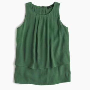 J Crew Tiered Crepe Top Blouse Green Size 2 #E3043